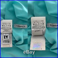 Vintage 90s Versace Rhinestone Beaded Asymmetrical Lace Slip Party Dress Small