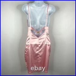 Vintage 90s Versus Gianni Versace Pink Satin Cutout Cocktail Slip Dress Sz 2/4