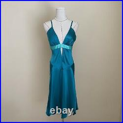 Vintage 90s Y2K BEBE Blue Slip Dress Handkerchief Hem Carrie Bradshaw JLo Small