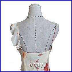 Vintage 90s Y2K Express Silk Chiffon Slip Dress Ruffles Carrie Bradshaw Small