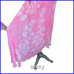 Vintage 90s Y2K Pink Silk Chiffon Bias Cut Slip Dress Carrie Bradshaw 30s Tea