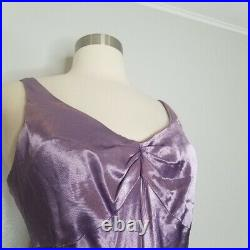 Vintage 90s y2k Satin Chiffon Ruffle Slip Prom Maxi Mermaid Dress 7/8 4