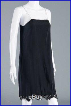 Vintage ADOLFO Black Lace & Beaded Coctail Dress & Slip with Red Rhinestones SZ M