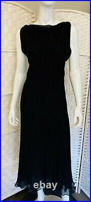 Vintage ALBERTA FERRETTI Black Chiffon X Cross Lined Dress