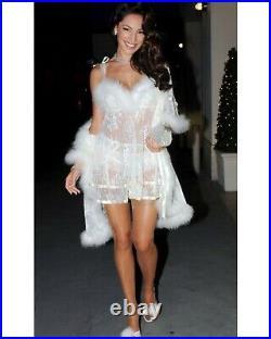 Vintage Agent Provocateur Babydoll Slip Dress Ivory Lace Marabou Fluffy Gown