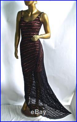 Vintage Alaia Nude Pink Slip, Black Lace Fishtail Bustier Gown Long Dress- S