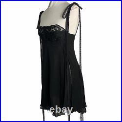 Vintage Alberta Ferretti Lingerie Slip Dress 6 Black Sheer Chiffon Underwire