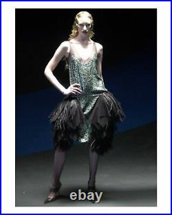 Vintage Alexander Mcqueen Green Camo Sequin Evening Gown Aw 2001