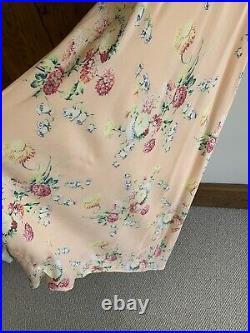 Vintage Antique 1930s Floral Rayon Crepe Slip Dress Night Dress Wedding
