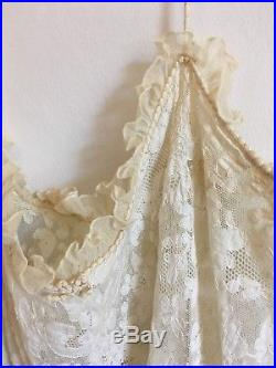 Vintage Antique Pure Silk Appliqué Lace Ivory Bridal Slip Dress 10 S Wedding