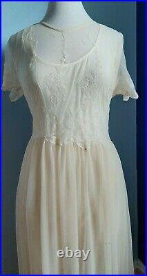 Vintage April Cornell CORNELIA Dress 2 Pc Slip Dress / Ivory Tulle / Size S M