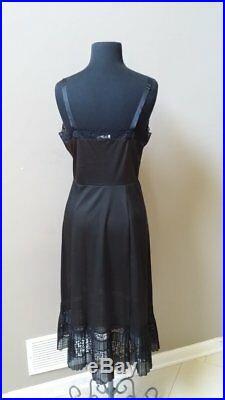 Vintage Aristocraft Superior extra fancy bombshell black nylon full slip dress
