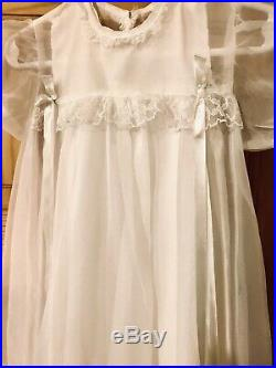 Vintage Baby Girl Ivory Christening Dress Set WithJacket Slip Bloomers and Bonnet