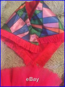 Vintage Barbie Rainbow Wraps #1798 Dress Shawl Slip Blue T Strap Shoes 1970 Mod