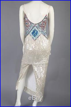 Vintage Beaded White Slip Dress Formal Gown W Colors