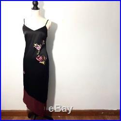 Vintage Bergdorf Goodman Silk Embroidered Slip Dress