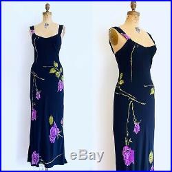 Vintage Betsey JOHNSON 90s Slip Dress Bias Cut ROSE Print Roses Small