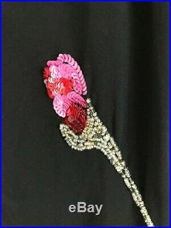 Vintage Betsey Johnson Bias Cut 100% Silk Black Slip Dress, size US 8