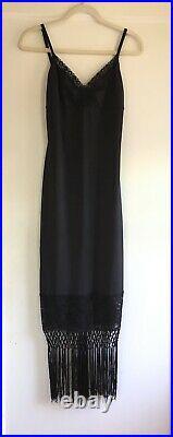 Vintage Betsey Johnson Black Stretch Lace Fringe Hem Slip Cocktail Dress Size M