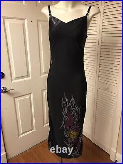 Vintage Betsey Johnson Black Tattoo Print Camisole Slip Dress Mermaid Hem S Euc