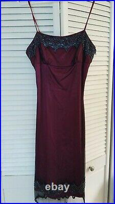 Vintage Betsey Johnson Burgandy Beaded Hem Slip Flapper Cocktail Dress Size 6