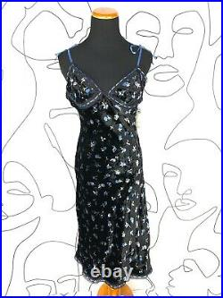 Vintage Betsey Johnson Evening Velvet Floral Elbellished Midi Slip Dress 90s NWT