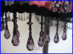 Vintage Betsey Johnson Floral Silk Slip Dress 6 Beaded Fringe Hem Asymmetrical