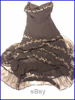 Vintage Betsey Johnson Long Slip Dress Embroidered Black Silk Sz 8