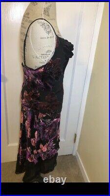 Vintage Betsey Johnson New York Velvet Floral Burn Out Hi Low Dress Size Medium