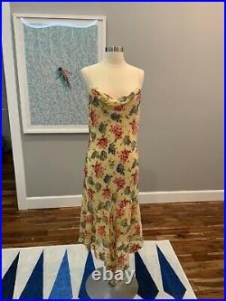 Vintage Betsey Johnson New York yellow Slip dress raised velvet flowers size 10