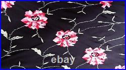 Vintage Betsey Johnson SILK Embroidered Rose Hankerchief Midi Slip Dress Size 6