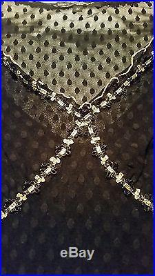 Vintage Betsey Johnson Sheer Mesh Dot Dress Gold Trim & Matching Under Slip S