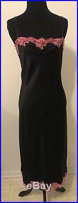 Vintage Betsey Johnson Silk Slip Dress withPink Lace & Rhintstone Detail Size Sm