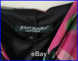 Vintage Betsey Johnson Silk Slip Floral Print Dress Beads Size M