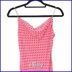 Vintage Betsey Johnson Size 8 Silk Slip Dress Polka Dot Frill Midi Rockabilly