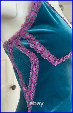 Vintage Betsey Johnson Teal and Pink Velvet Sequin Slip Dress Small 4