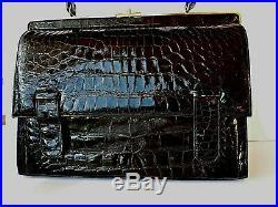 Vintage Black Alligator Handbag With Original 1966 Sales Slip Mint Condition