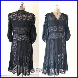Vintage Black Lace Chiffon Slip Dress 1940s 1950s 38 32 44