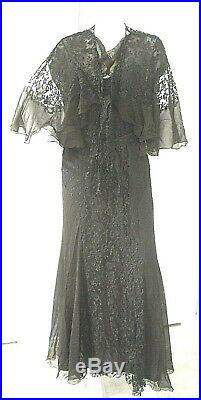 Vintage Black Lace Dress Gown Slip And Shawl 1930's Or 1940's