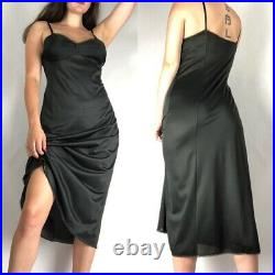 Vintage Black Nylon Vanity Fair Slip Dress Lingerie Negligee Nightgown