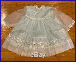 Vintage Blue Frilly Sheer Flowers Ruffle Lace Party Dress + Slip 17