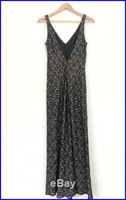 Vintage CARMEN MARC VALVO 90s Beaded Low Back Column Slip Gown Prom Dress 10P