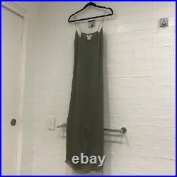 Vintage CELINE Green Khaki 100% Silk Slip Dress, Y2K, FR 42, L, AU 14