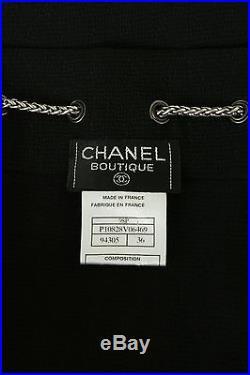 Vintage CHANEL silver chain CC embellished black rayon slip dress FR36 US2 UK6 S