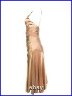 Vintage CHRISTIAN DIOR Boutique Pink Silk Slip Midi Dress Size 4