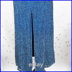 Vintage Cache Slip Dress Small Ombre Blue Beaded Sequin Silk Backless Party Slit