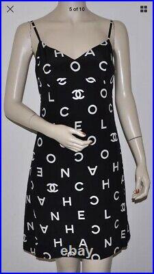 Vintage Chanel Alpha Boutique Dress Black 1997 Size 40 Fits Like An 8 Silk Vneck