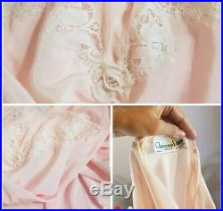 Vintage Christian DIOR Slip Pink S Lace Mesh Dress Lingerie Nightgown Silk