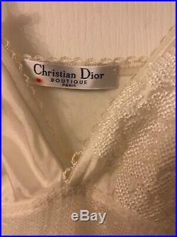 Vintage Christian Dior Boutique Paris White Silk Slip Dress Lingerie XS