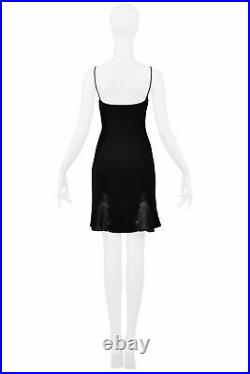 Vintage Christian Dior By Galliano Black Slip Dress With Lace Panels